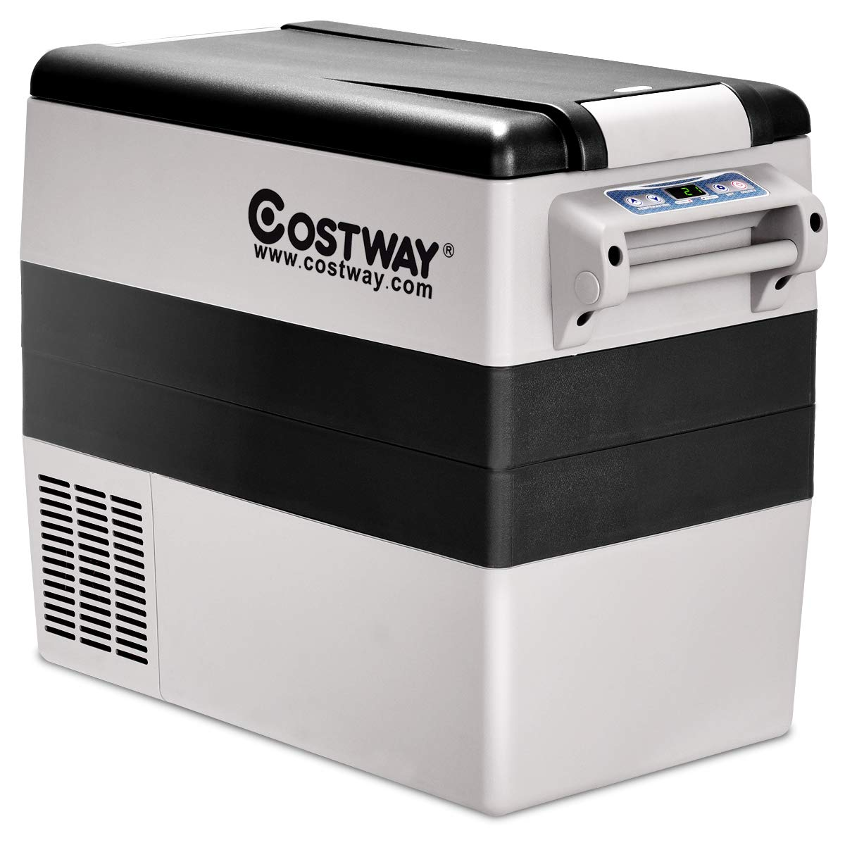 COSTWAY 54 Quart Portable Refrigerator/Freezer Compact Vehicle Car Mini Fridge Electric Cooler for Truck Party, Travel, Picnic Outdoor, Camping(-4°F to 50°F)(Black and Grey)