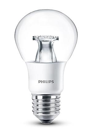 Philips Pera Bombilla LED de luz cálida, 6 W, casquillo E27, regulable Blanco