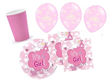 Party Fiesta Set Baby Baby Shower Nina Color Rosa Para 16 Personas