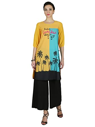 a9d2d133c97 Juniper Yellow Printed Round Neck Kurta  Amazon.in  Clothing   Accessories