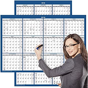 Large 2018 Yearly Wet and Dry Erase Wall Calendar, 24 x 36 Inches, 2-Sided Reversible Vertical/Horizontal by Delane, Mounting Tape Included (AWC-001) (Navy)