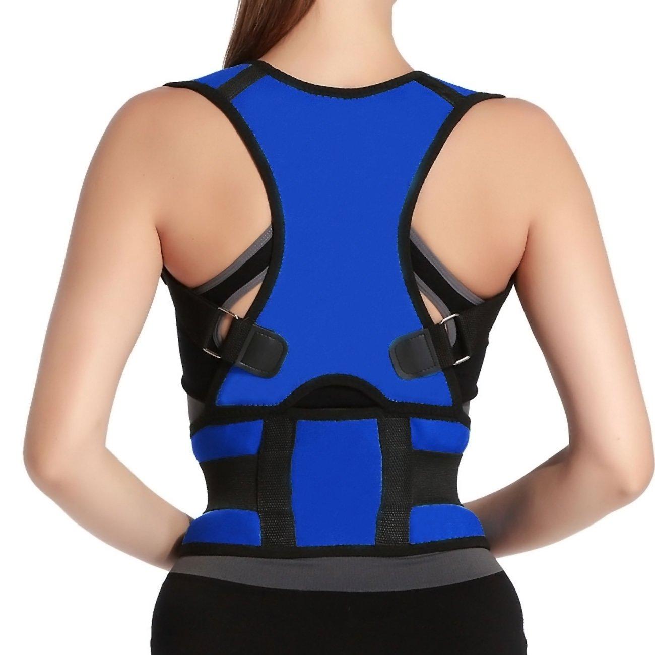 Adjustable Back Support Posture Corrector Brace Posture Correction Belt for Men Women Back Shoulder Support Belt Size L Blue