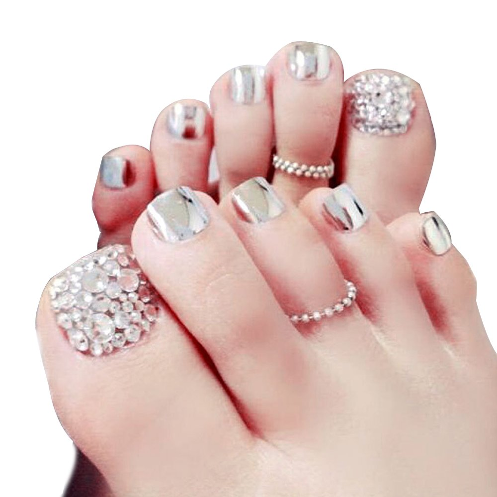 Amazon.com : Lady Metallic False Toes Toenails Pure Gold Mirror ...