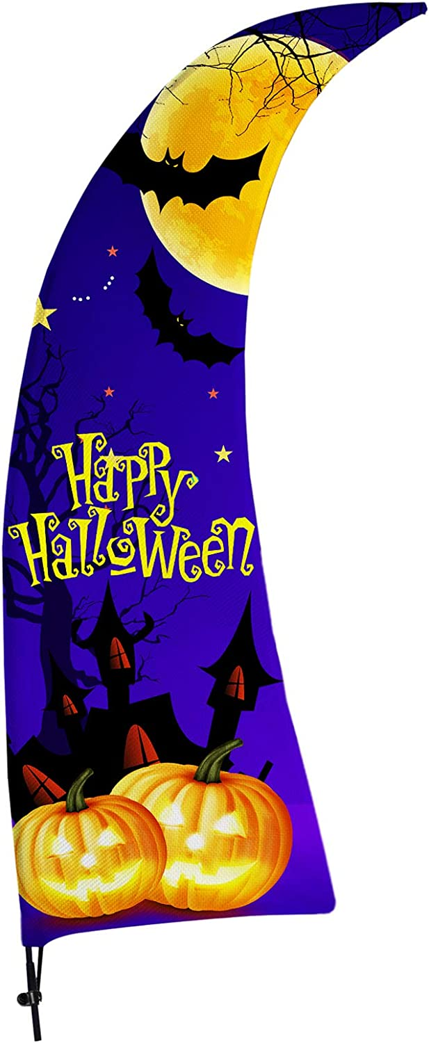 FSFLAG Halloween Feather Flag - Halloween Swooper Flag with Pole Kit - Happy Halloween Yard Decorations - Halloween Flags for Business Sale Store Advertising (Purple Happy Halloween)