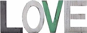 Wooden Love Letters Sign Decor Freestanding Farmhouse Wood Block,Home Desktop Multicolor Signs,Cutout Rustic Home Decor Tabletop Signs Blocks