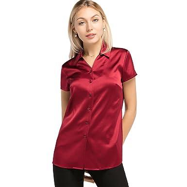 b5bcc60686d63 LilySilk Basic V Neck Short Sleeves 19MM Women s Silk Shirt for  Work Leisure XS