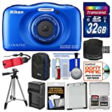 Nikon Coolpix W100 Wi-Fi Shock & Waterproof Digital Camera (Blue) with 32GB Card + Case + Battery & Charger + Tripod + Float Strap + Kit
