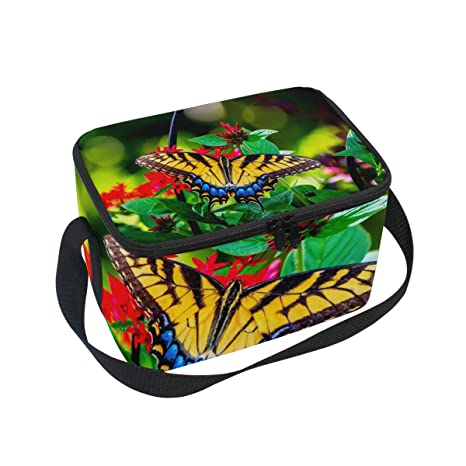 ec0069043ec2 Amazon.com: Lunch Bag Butterfly Garden Flowers Colors Summer Womens ...