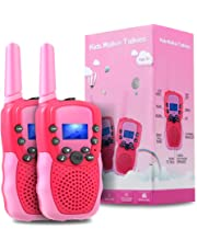 TekHome Walkie Talkies for Kids, 2 Pcs Long Distance Two Way Radio, Toys for 3-12 Year Olds Girls, Baby Girl Birthday Gifts, PMR 446MHz 22 Channels Walky Talky for Hide-And-Seek, Hunting, Pink & Red.