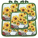 """(Ten) 10 Pack Pot Holders 6.5"""" Square Solid Color Everday Quality Kitchen Cooking Chef Linens (Sunflower)"""