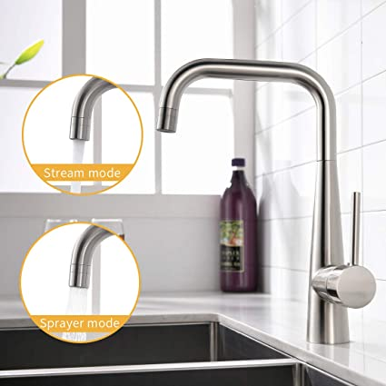 Wanmai Commercial Brushed Nickel Kitchen Faucet Solid Brass Body