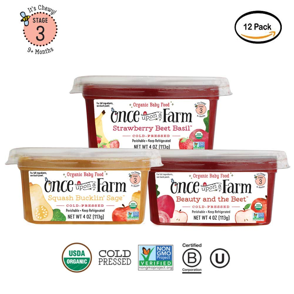 Once Upon A Farm Organic Stage 3 | Baby Food Cups | Cold Pressed | Refrigerated | For 9 Months and Up | Variety Pack of 12