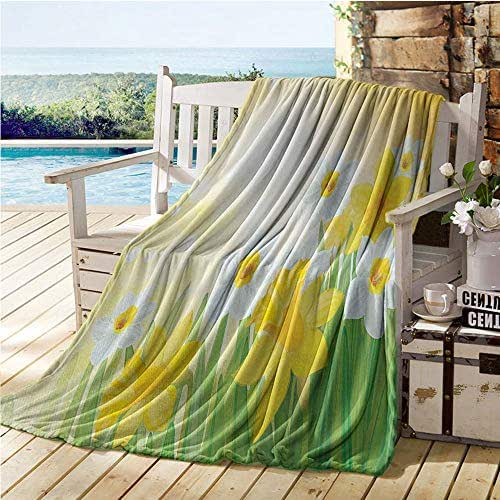 Mademai Daffodil Fluffy Blanket,Daffodils Garden Narcissus Rebirth and New Beginnings Celebration Graphic,Summer Blanket Green Yellow White 50