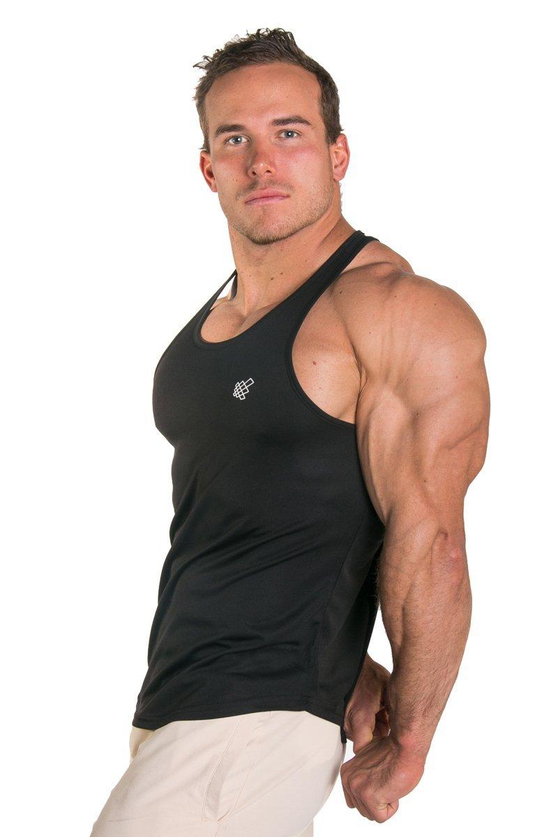 Jed North da Uomo Dri-Fit Microfibra Bodybuilding Stringer Tank Top Weight-Training y-Back Racerback