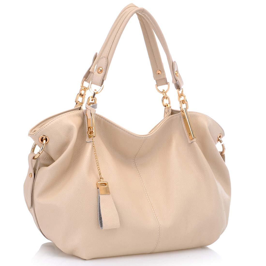 JIANZ-ryggsäck kvinnor vintage läder axelväska tygväskor för kvinnor handväska cross-body väska flickor skolväska handväska axelväska för damer (färg: Beige) BEIgE