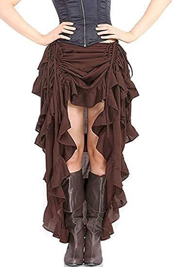 MERSAL Falda asimétrica de Encaje para Mujer, Estilo gótico ...