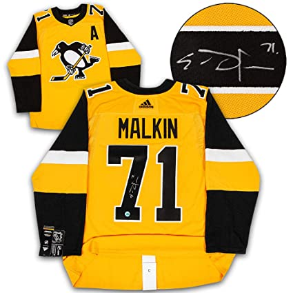 size 40 6b6e4 852ab Evgeni Malkin Pittsburgh Penguins Signed Yellow Alternate ...
