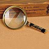 90mm Handheld 5X Loupe Magnifier Magnifying Glass Lens Perfect Viewing Small New -Gold