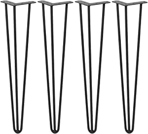 24 Inch Hairpin Table Legs 4 Pack Black Hairpin Feet 3 Rod Heavy Duty Metal Furniture Legs Perfect for Coffee Table Home DIY Tool Dining Table Desk