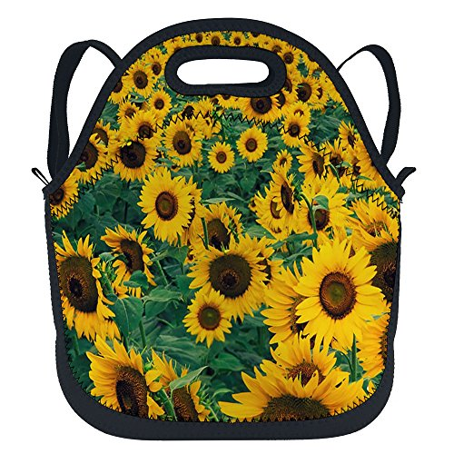 oFloral Sunflower Reusable Insulated Neoprene Lunch Bag Green Leaves Portable Summer Lunchbox School Backpack Handbag With Detachable Adjustable Shoulder Strap For Boys Toddler Girls Teens Women Green