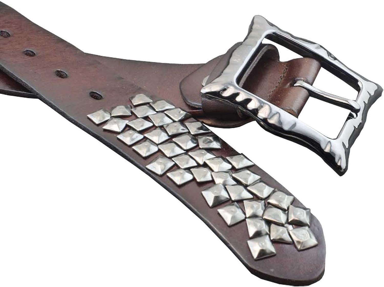New Mens Biker Rocker Removeable Pin Buckle Studded Cowhide Leather Belt BVB23