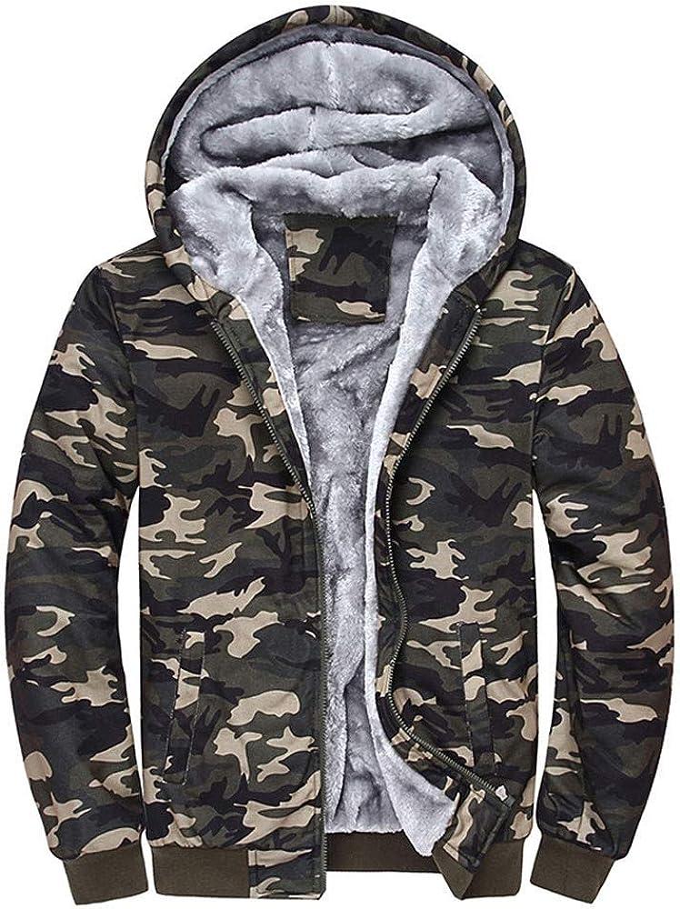 DORIC Mens Pullover Winter Jackets Hooded Fleece Hoodies Sweatshirt Zipper Sweater Wool Warm Thick Coats
