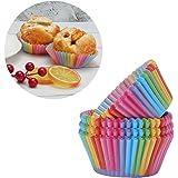 The Best Kingdom Brand New 100 x Rainbow Cupcake Cases Cake Baking Muffin Dessert Wedding Party