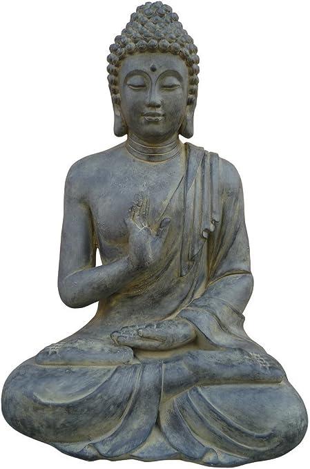 Stone-Lite Figura de Buda Sentado con Gesto de la Mano - para casa y jardín - Altura 60 cm - Negro: Amazon.es: Hogar