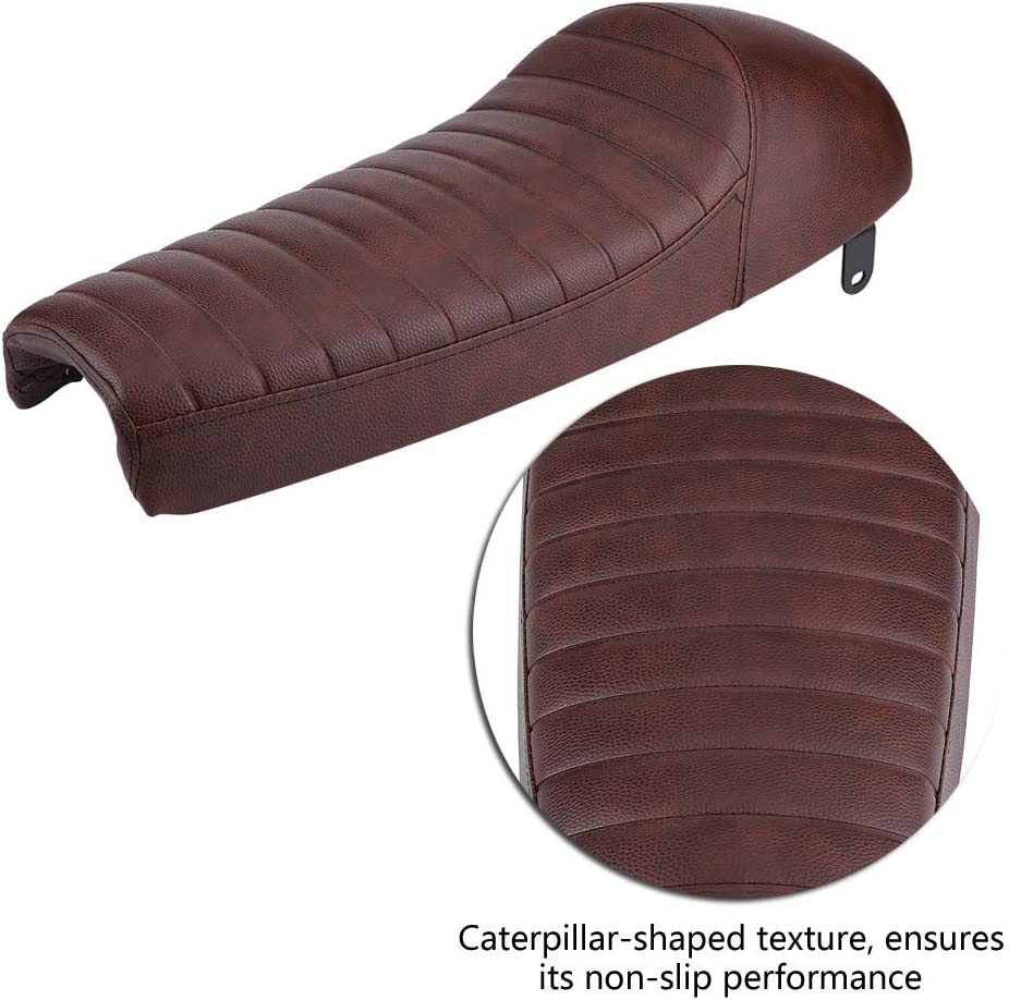 Cuque Motorcycle Seat Synthetic Leather Universal Motorbike Refit Hump Vintage Cushion 63cm for Honda CB100 CB125 CB175 CB200 CB350 CB360 CB400 CB450 CB500 CB550 CB650 CB750 CG125 GN250 CL100 Black