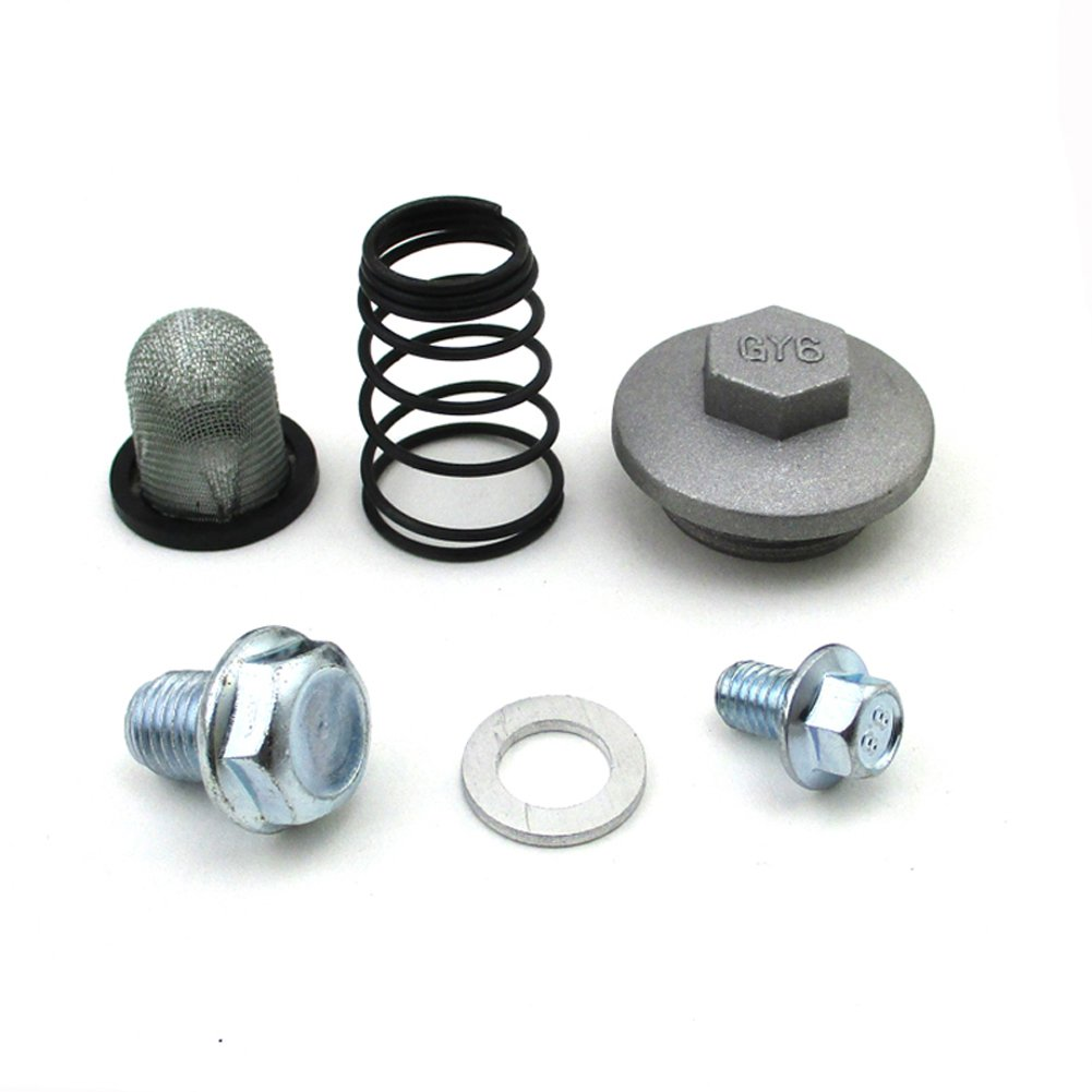 Race-Guy Oil Strainer Cap Drain Plug Bolt Screen Seal Spring For Chinese GY6 50cc 125cc 150cc Moped Scooter ATV Quad.