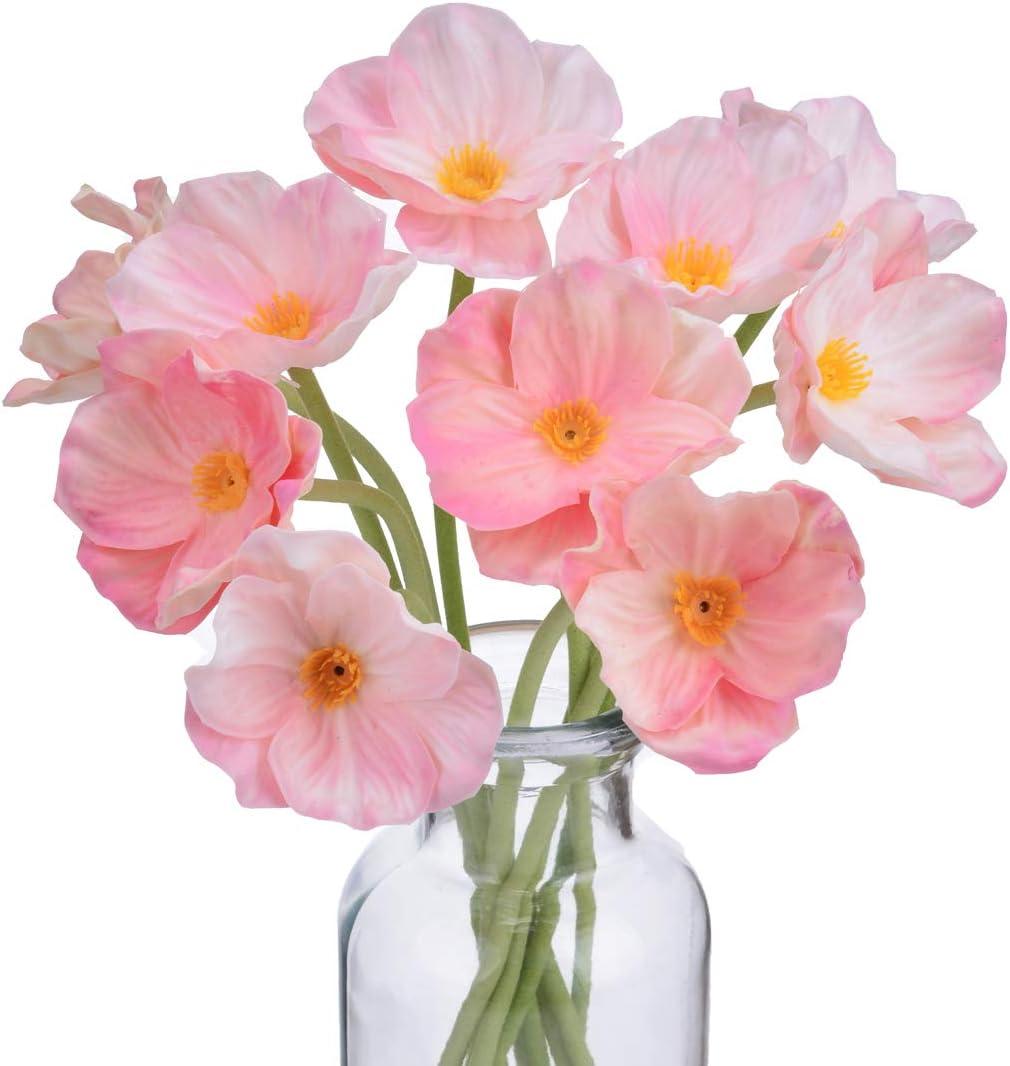 A Cup of Tea 10Pcs Modern Décor Pink Poppy Flowers 13.8'' Artificial Floral Centerpieces Garland Fake Silk Flores Artificiales para Decorativas Faux Plantas Home Room Wedding Decorations Real Touch