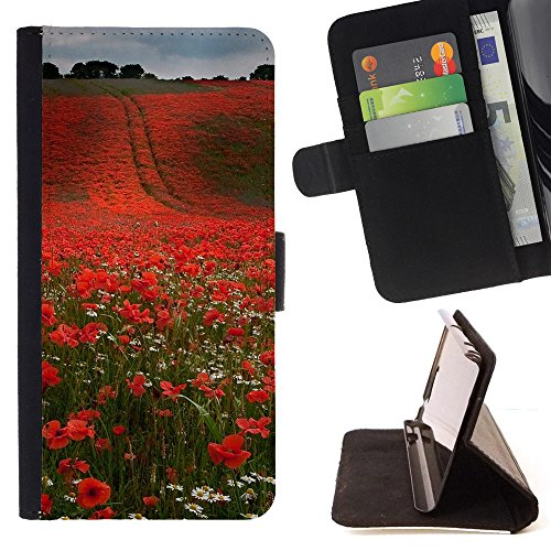 God Garden - FOR Apple Iphone 6 - Neat Nature Field Red Flowers - Glitter Teal Purple Sparkling Watercolor Personalized Design Custom Style PU Leather Case Wallet Fli