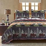 king camo quilt - Greenland Home Black Bear Lodge Quilt Set, 3-Piece King