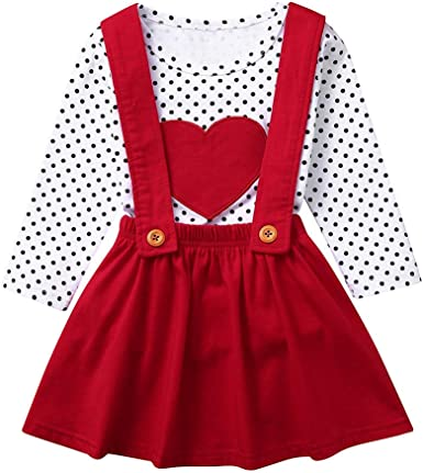 Suspender Skirt 2Pcs Outfit US Baby Girls Valentine/'s Day Clothes Tops