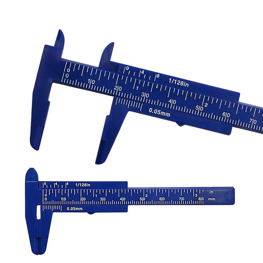 ACEKB 80mm Mini Plastic Student Sliding Vernier Caliper Gauge Measurement Simple and Practical Micrometer (Blue)