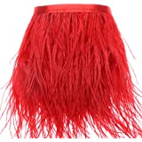 Ostrich Feathers Trims Fringe With Satin Ribbon Tape for Dress Sewing Crafts Costumes Decoration Pack of 2 Yards(Red)