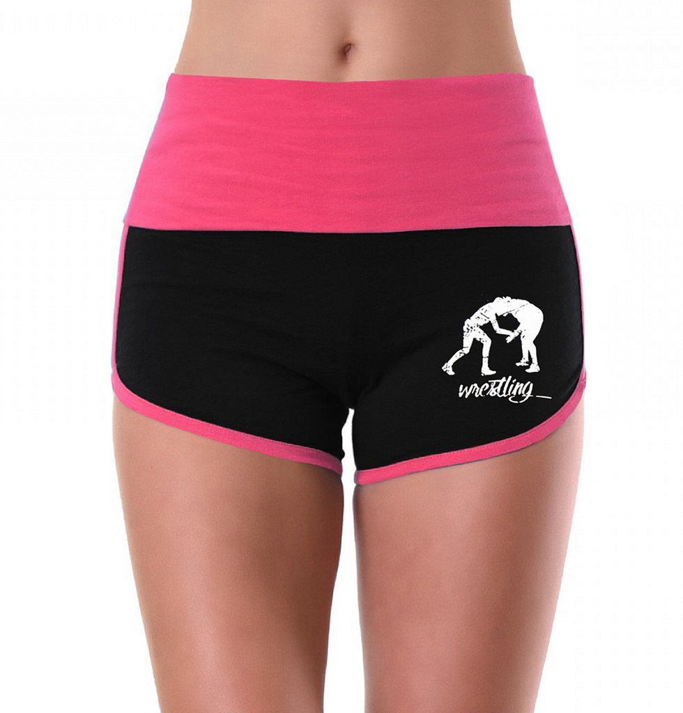Women's MMA Wrestling Emblem Pink/Black Athletic Workout Yoga Shorts Large