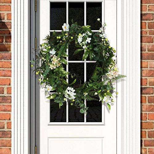 Valdler 22 Inch Christmas Natural Vine Leaves Wreath Silk Jasmine Flower Door Decorative Galand - Artificial 22 Wreath Christmas