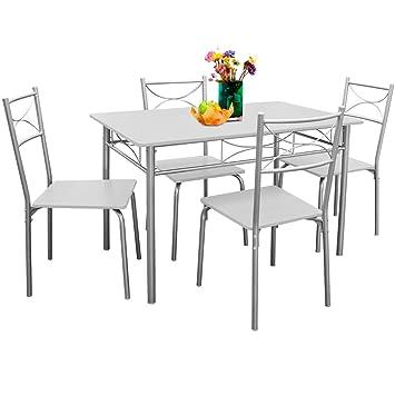 Deuba 5 tlg. Sitzgruppe »Paul« Weiß | Esstisch mit 4 Stühlen | für ...