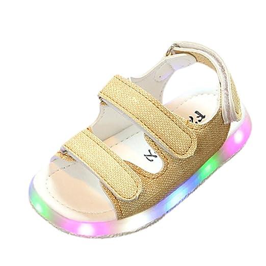 LED Sandalias de verano Xinantime Zapatos deportivos para niños pequeños Sandalias de bebé para niñas Zapatos luminosos LED Zapatillas 0-6 años (21, ...