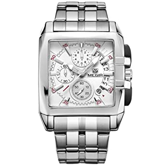 Amazon.com: Megir Mens Chronograph Quartz Watches Square Stainless Steel Business Dress Stop Watch for Man 2018 Silver: Megir: Watches