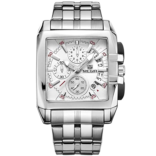 Megir Mens Chronograph Quartz Watches Square Stainless Steel Business Dress Stop Watch for Man 2018 Silver