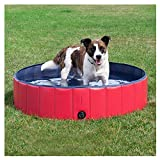 DELIFUR Foldable PVC Dog Cat Water Pool Pet Outdoor Swimming Playing Pond Animal Water Tool in Summer (Red, Medium)