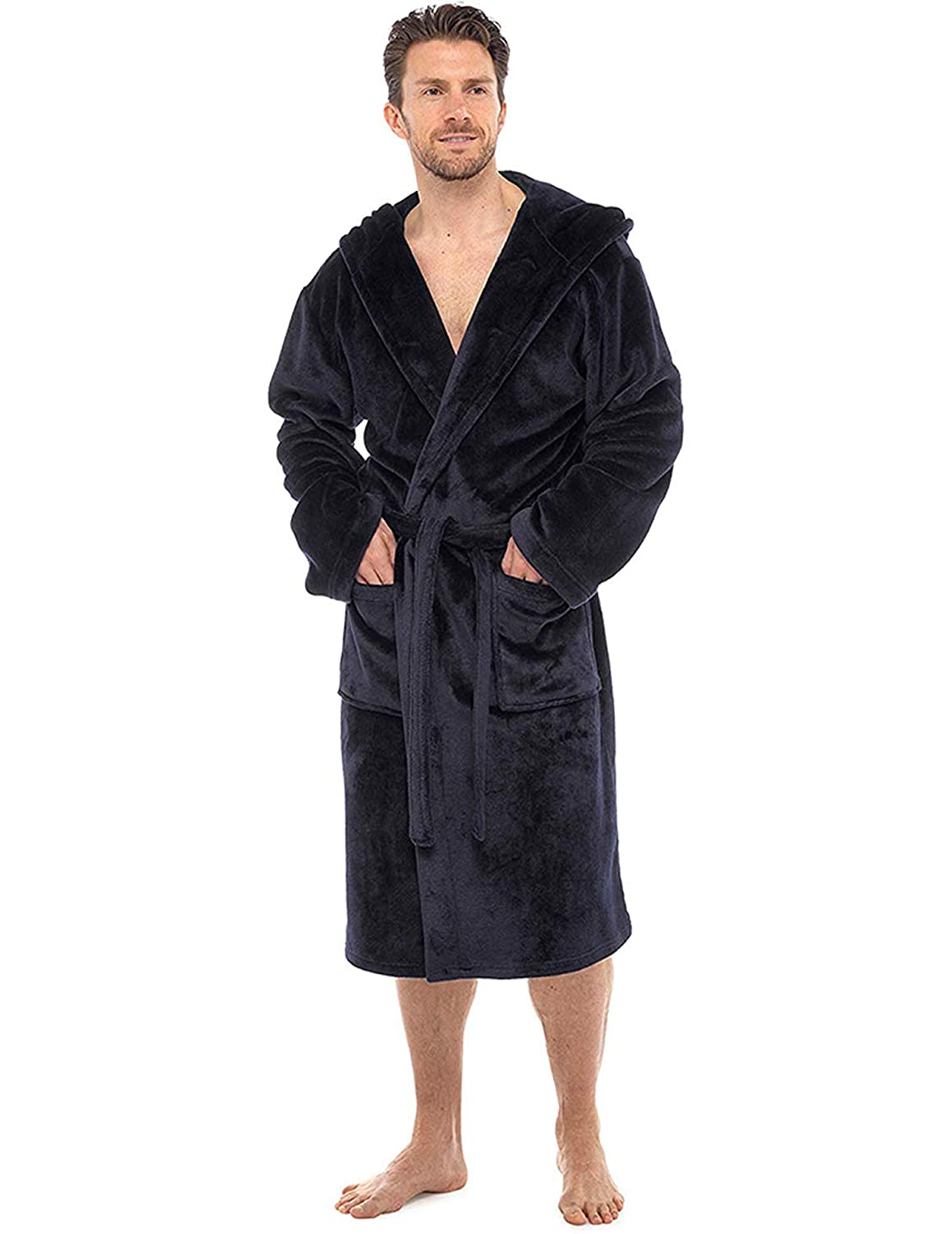 Mens Dressing Gown Luxury Super Soft Mens Fleece Robe with Hood Gowns Bathrobe Warm and Cozy…