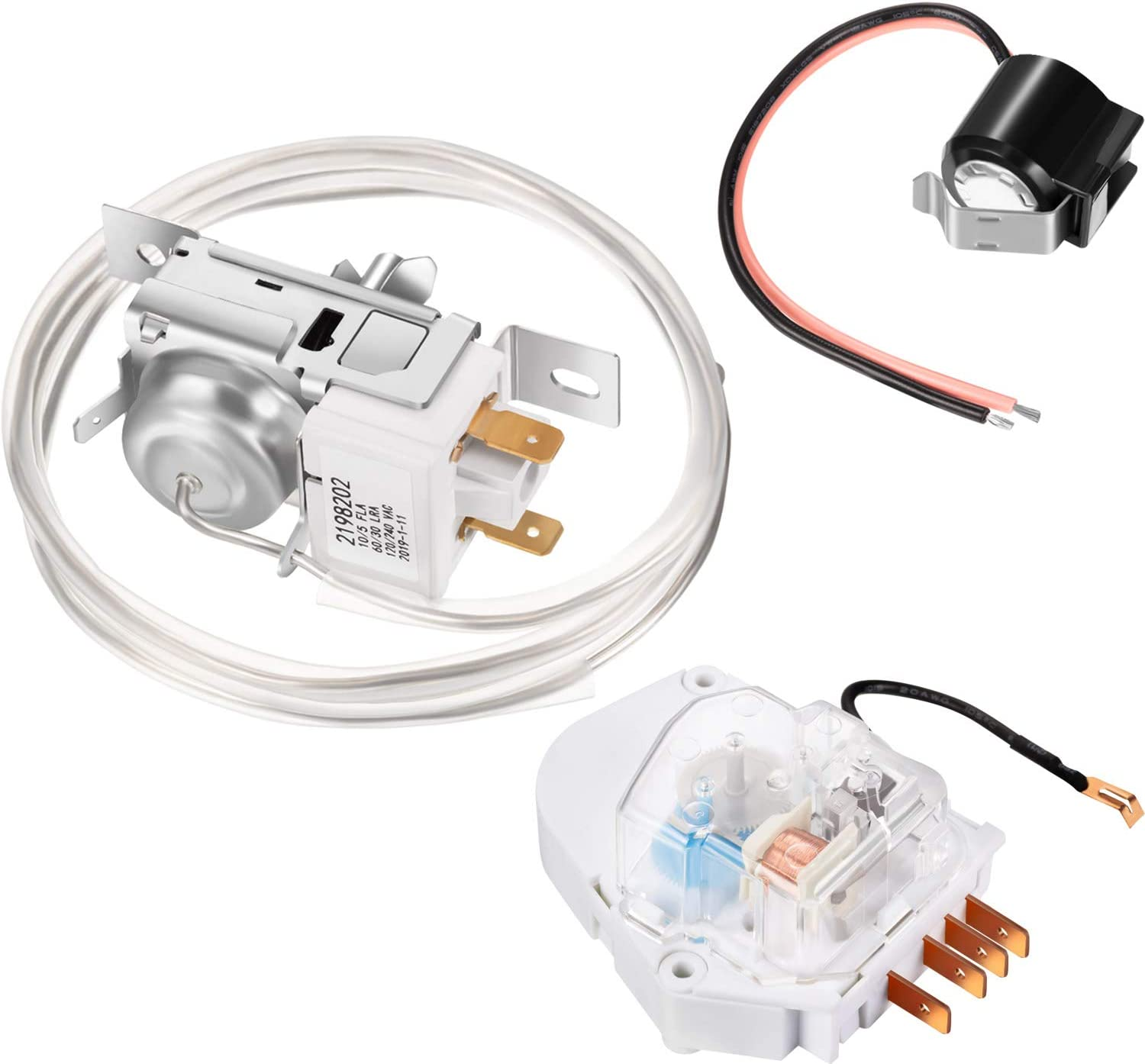 2198202 Refrigerator Cold Control Thermostat, W10822278 Refrigerator Defrost Timer and W10225581 Refrigerator Bimetal Defrost Thermostat, Refrigerator Defrost Kit Compatible with Kenmore