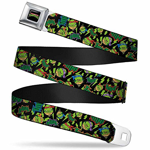Buckle-Down Buckle-Down Seatbelt Belt Ninja Turtles Kids Accessory, -Classic TMNT/Bolts/Faces Black/Greens, 20-36 Inches (Buckle Down Seat Belt)
