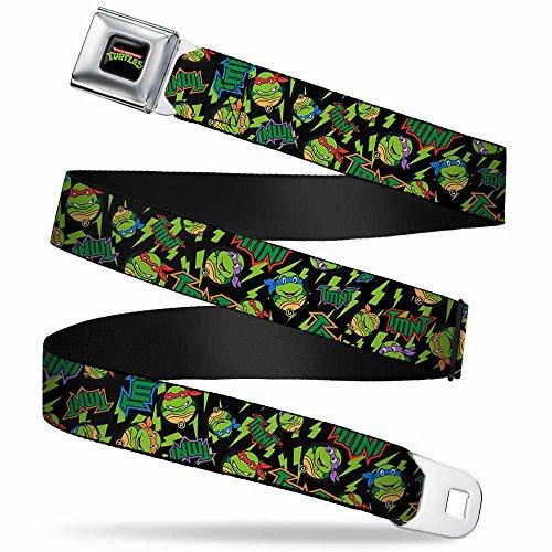 - Buckle-Down Seatbelt Belt - Classic TMNT/Bolts/Faces Black/Greens - 1.0