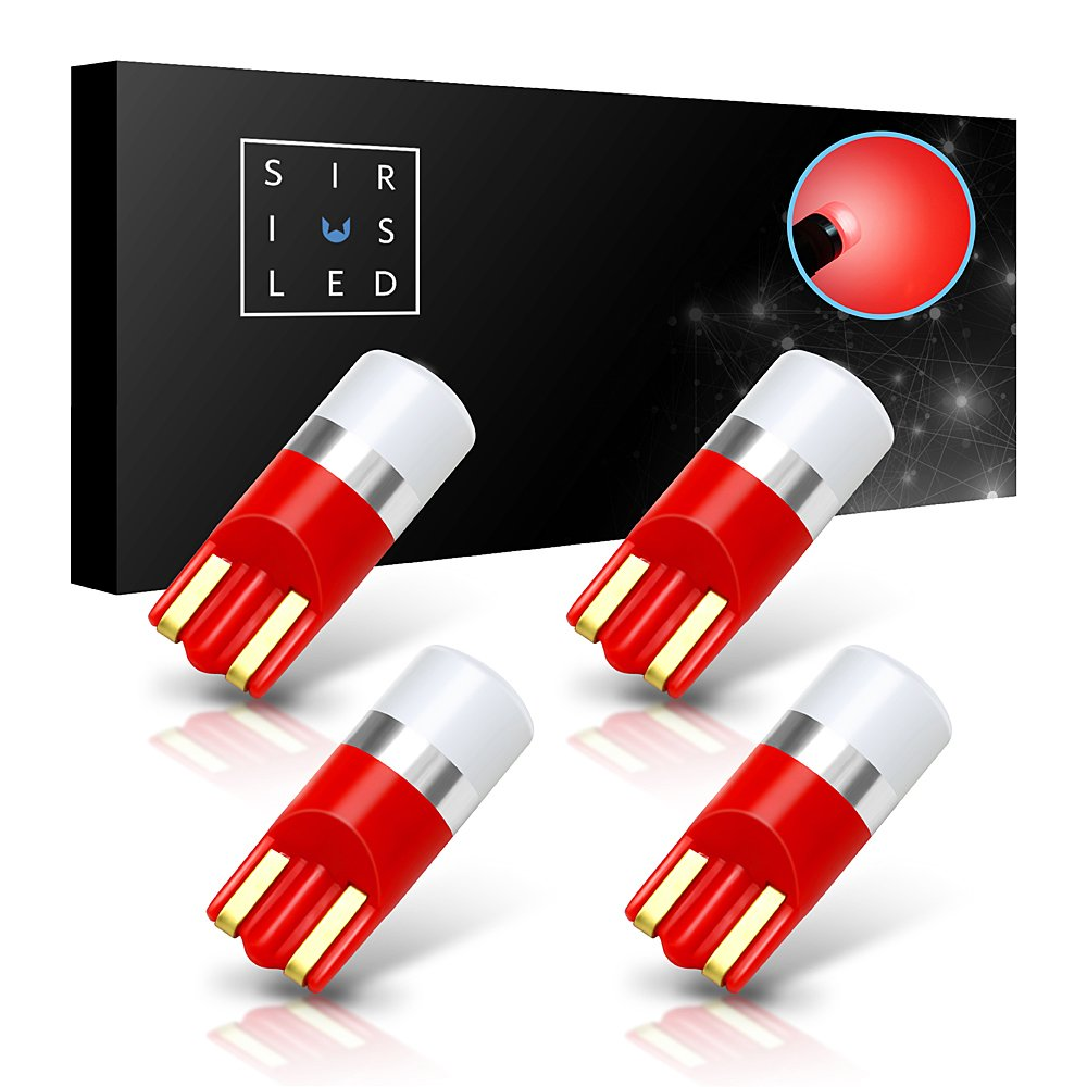 SiriusLED AG Super Bright 300 Lumen Ultra Compact LED Interior Light Bulb Size 168 175 194 2825 Pack of 4 Color Red