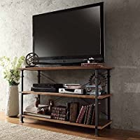 ModHaus Modern Industrial Light Brown Rustic Wood and Metal TV Stand - for Televisions up to 48 inches Includes ModHaus Living (TM) Pen