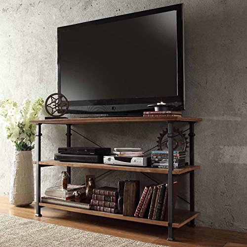 ModHaus Modern Industrial Light Brown Rustic Wood and Metal TV Stand – for Televisions up to 48 inches Includes ModHaus Living TM Pen